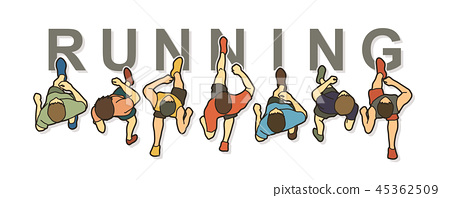 People running top view with text graphic vector 45362509