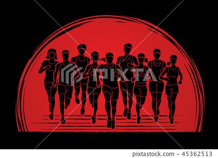 Marathon runners, Group of people running  45362513