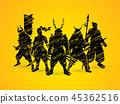 Samurai warrior pose 45362516