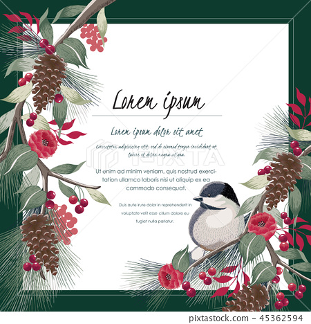 Vector illustration of floral frame with a bird 45362594