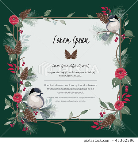 Vector illustration of floral frame with a bird 45362596