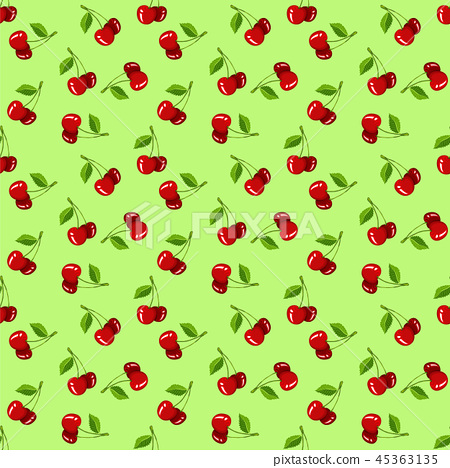 Cherry seamless vector pattern.Food texture. 45363135