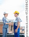 construction, site, handshake 45369842