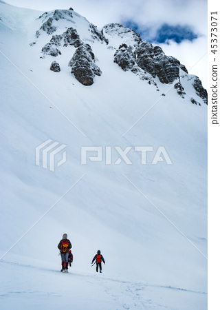 Italy, Abruzzo national park, hikers on the snow 45373071