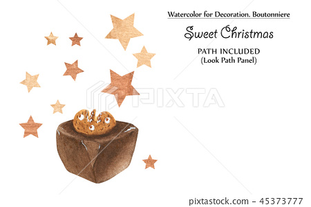 Sweet vignettes with chocolates and golden stars 45373777