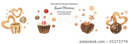 Sweet vignettes with chocolates and cookies 45373779