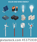 Solar and wind energy generation. Electrical equipment. Vector set. 45375939