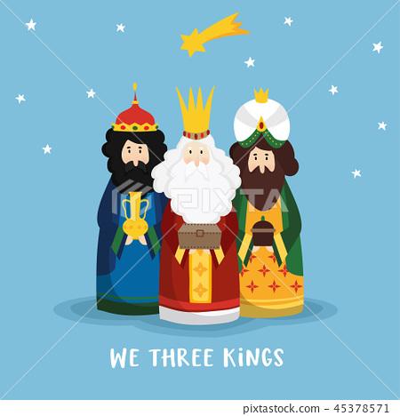 Cute Christmas greeting card, invitation with three magi bringing gifts and falling star. Biblical 45378571