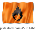Flammable icon flag isolated on white 45381461