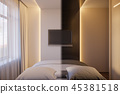 3d render of an interior design of a white minimalist bedroom 45381518