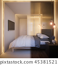 3d render of an interior design of a white minimalist bedroom 45381521