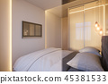 3d render of an interior design of a white minimalist bedroom 45381533