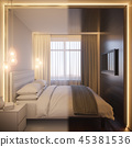 3d render of an interior design of a white minimalist bedroom 45381536