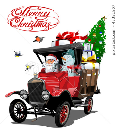 Vector Christmas card with cartoon retro truck 45381807