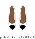 Woman Retro shoes, white Leather Pumps with Black Toe. Vector Illustartion 45384510