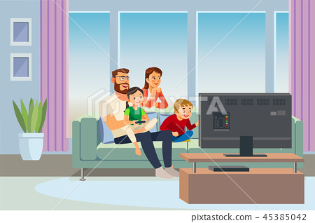 Parents Spending Time with Kids at Home Vector 45385042