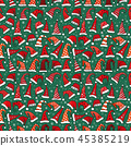 Seamless pattern with red Christmas Santa hats on dark green bac 45385219