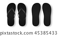 Vector Realistic 3d Black Blank Empty Flip Flop Set Closeup Isolated on White Background. Design 45385433