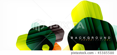 Glossy color hexagons modern composition background, shiny glass design 45385580