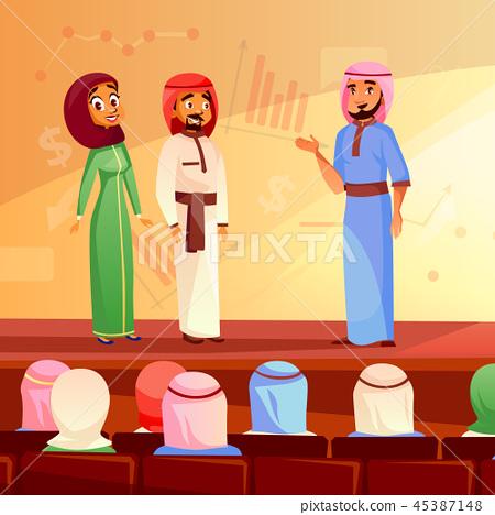 Muslim people conference cartoon illustration 45387148