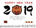 การ์ดปีใหม่ของปีระกาภาพประกอบของไก่และปี 2019 45387955