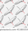 White Stork pattern. Vector big flying bird texture. Modern cloth fabric print. 2019 trendy nature 45389359