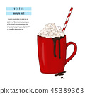 Hot chocolate drink illustration. Breakfast red cup with cocoa and marshmallow print. Sweet winter 45389363