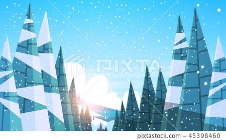 winter snowy forest pine fir tree woods sunset landscape background flat horizontal 45398460