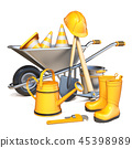Wheelbarrow with orange construction tools 3D 45398989