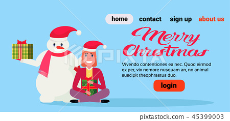 snowman with girl lotus pose holding wrapped gift box present merry christmas new year holiday 45399003