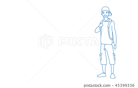 4997d7fc young boy in hat with backpack travel summer vacation concept sketch doodle  horizontal
