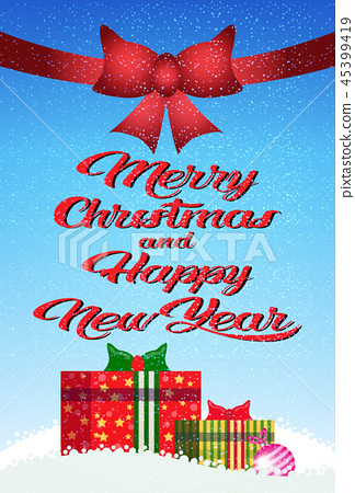decorated colorful gift boxes red bow happy new year merry christmas concept flat vertical 45399419