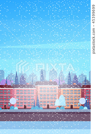 city building houses winter street cityscape background merry christmas happy new year concept flat 45399699