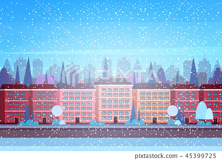 city building houses winter street cityscape background merry christmas happy new year concept flat