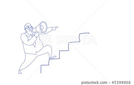 man announcer hold loudspeaker climb career ladder leadership concept sketch doodle horizontal 45399808
