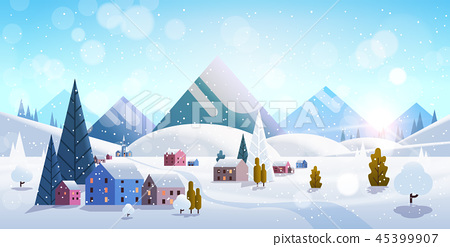winter village houses mountains hills landscape snowfall background horizontal flat 45399907