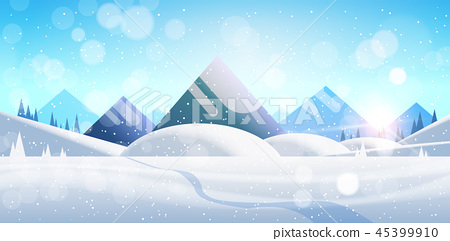 Winter mountain forest landscape background pine snow trees woods flat horizontal 45399910