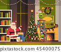 santa claus with elves on staircase decorate fir tree living room interior merry christmas happy new 45400075