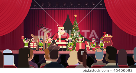 Open red curtain Santa Claus and elves theater show merry christmas happy new year holiday concept 45400092