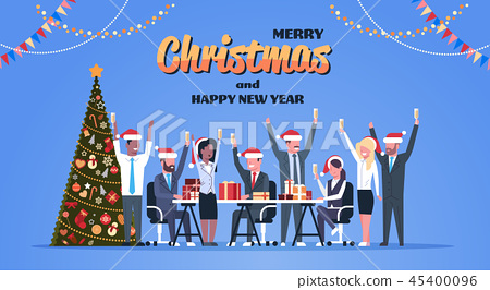 business team raised hands champagne glasses decorated fir tree happy new year merry christmas 45400096