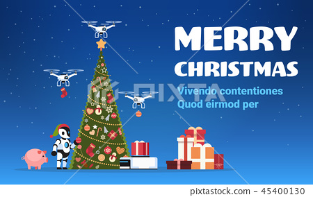 modern robot in santa claus hat near decorated fir tree gift box drone delivery service merry 45400130