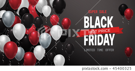 black friday special offer sale poster colorful air balloons over gray background shopping flyer 45400325