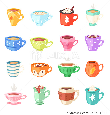 Cartoon cup vector kids mugs hot coffee or tea cupful on breakfast and various shapes of coffeecup 45401677