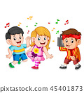 kids dancing of Hip-Hop and a boy holds a vintage  45401873