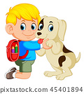 A boy with backpack bag hugging his dog 45401894