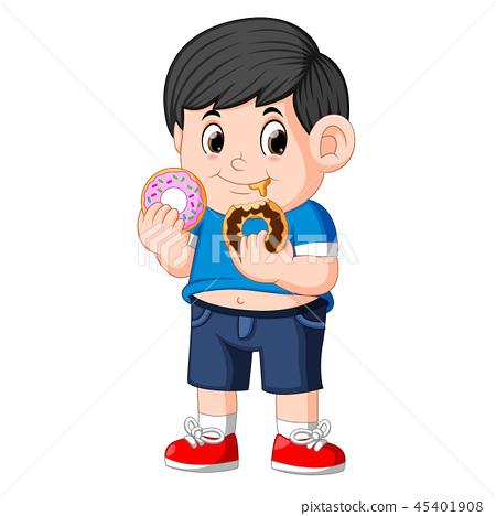 Little happy cute boy is eating two donut 45401908