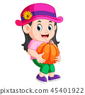 Cute child holding big pumpkin 45401922