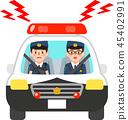 사이렌을 울리는 경찰차에 탄 경찰관 45402991