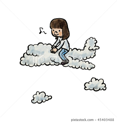 Child riding on a cloud 45403488