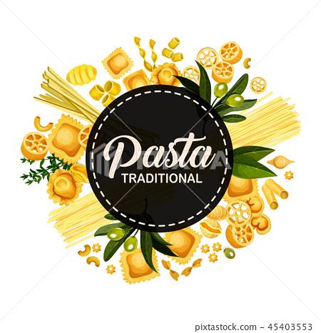 Italian pasta traditional cuisine, circle banner 45403553